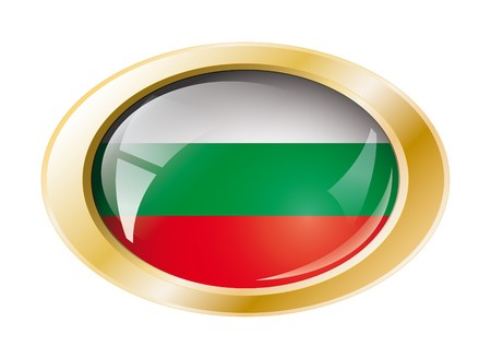 Bulgaria shiny button flag with golden ring illustration. Isolated abstract object against white background. illustration