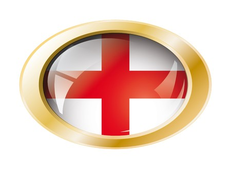 England shiny button flag with golden ring illustration. Isolated abstract object against white background. Stock Illustration - 7161304