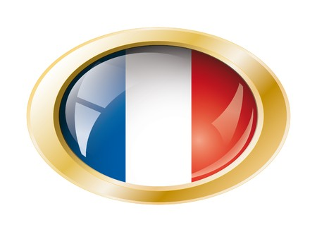 France shiny button flag with golden ring illustration. Isolated abstract object against white background. Stock Illustration - 7161303