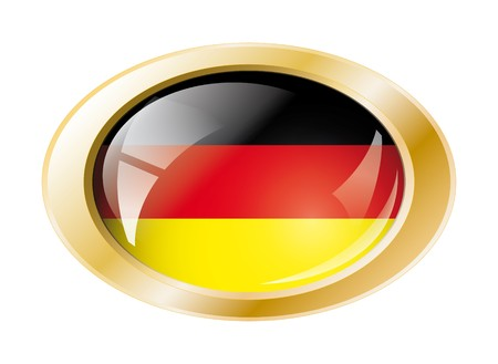 Germany shiny button flag with golden ring illustration. Isolated abstract object against white background. Stock Illustration - 7161307