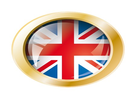 Great britain shiny button flag with golden ring illustration. Isolated abstract object against white background. illustration