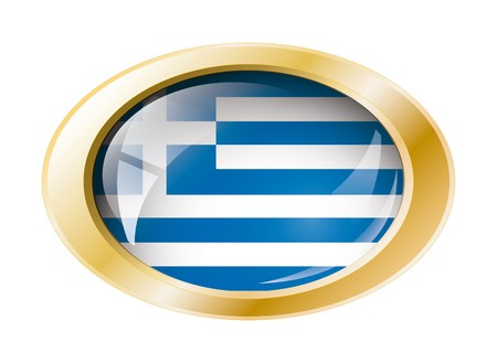 Greece shiny button flag with golden ring illustration. Isolated abstract object against white background. illustration