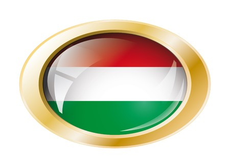 Hungary shiny button flag with golden ring illustration. Isolated abstract object against white background. Stock Illustration - 7161294