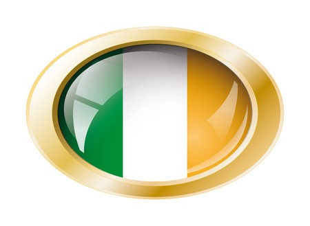 Ireland shiny button flag with golden ring illustration. Isolated abstract object against white background. illustration