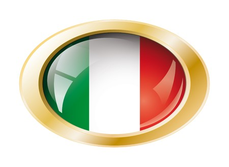 Italy shiny button flag with golden ring illustration. Isolated abstract object against white background. Stock Illustration - 7161309