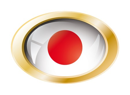 Japan shiny button flag with golden ring illustration. Isolated abstract object against white background. Stock Illustration - 7161298