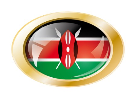 Kenya shiny button flag with golden ring illustration. Isolated abstract object against white background. illustration