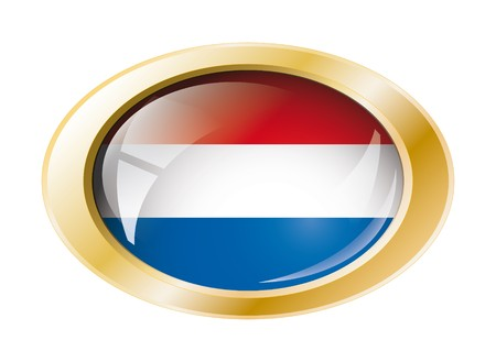 Netherlands shiny button flag with golden ring illustration. Isolated abstract object against white background. Stock Illustration - 7161301