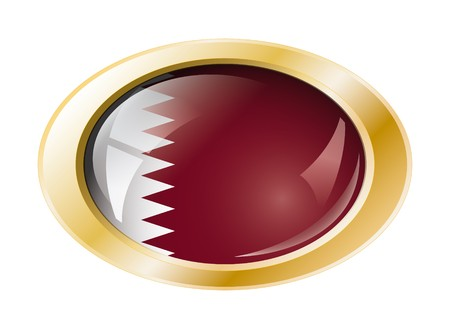 Qatar shiny button flag with golden ring illustration. Isolated abstract object against white background. illustration