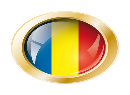 Romania shiny button flag with golden ring illustration. Isolated abstract object against white background. Stock Illustration - 7161308