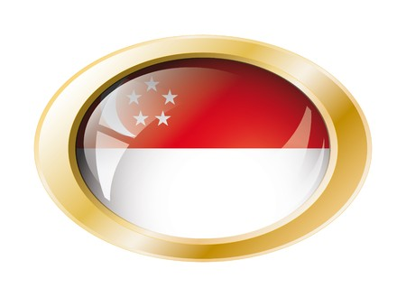 Singapore shiny button flag with golden ring illustration. Isolated abstract object against white background. Stock Photo - 7161295