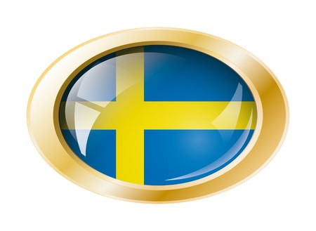 Sweden shiny button flag with golden ring illustration. Isolated abstract object against white background. illustration