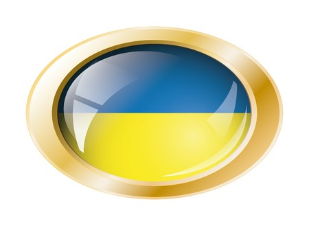 Ukraine shiny button flag with golden ring  illustration. Isolated abstract object against white background. Stock Illustration - 7161296