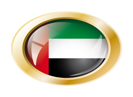 United arab emirates shiny button flag with golden ring illustration. Isolated abstract object against white background. Stock Illustration - 7161311