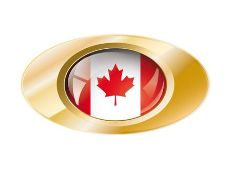Canada shiny button flag with golden ring illustration. Isolated abstract object against white background. illustration