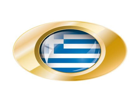 Greece shiny button flag with golden ring illustration. Isolated abstract object against white background. Stock Illustration - 7789880