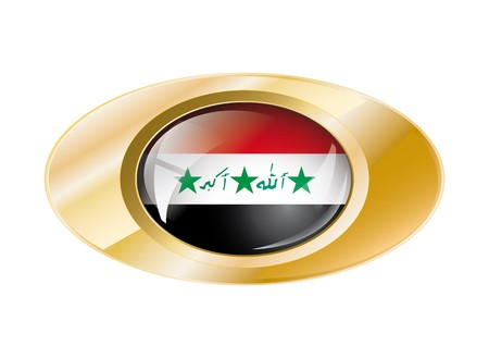 Iraq shiny button flag with golden ring illustration. Isolated abstract object against white background. Stock Illustration - 7789894