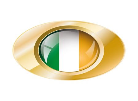 Ireland shiny button flag with golden ring illustration. Isolated abstract object against white background. Stock Illustration - 7789771