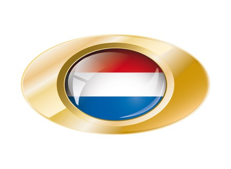Netherlands shiny button flag with golden ring illustration. Isolated abstract object against white background. illustration