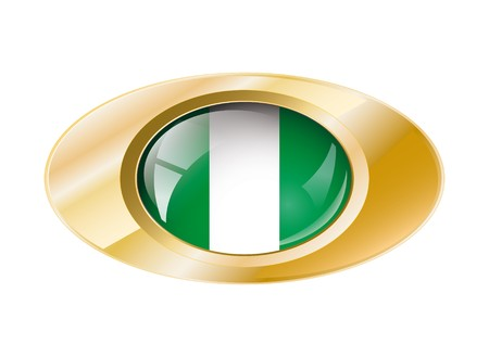 Nigeria shiny button flag with golden ring illustration. Isolated abstract object against white background. illustration