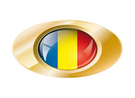 Romania shiny button flag with golden ring illustration. Isolated abstract object against white background. illustration