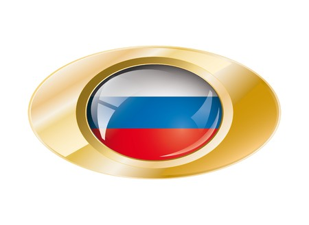 Russia shiny button flag with golden ring illustration. Isolated abstract object against white background. illustration