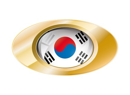 South korea shiny button flag with golden ring illustration. Isolated abstract object against white background. illustration