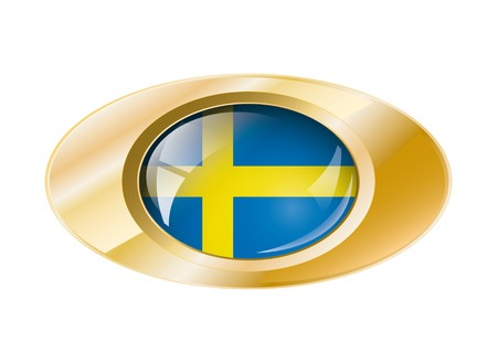 Sweden shiny button flag with golden ring illustration. Isolated abstract object against white background. Stock Illustration - 7789844