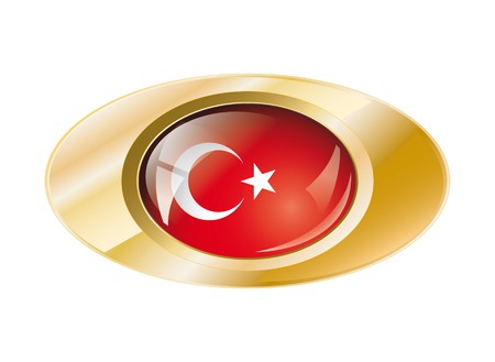 Turkey shiny button flag with golden ring illustration. Isolated abstract object against white background. illustration