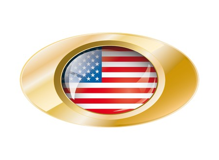 Usa America shiny button flag with golden ring illustration. Isolated abstract object against white background. illustration