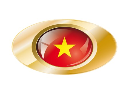 Vietnam shiny button flag with golden ring illustration. Isolated abstract object against white background. illustration