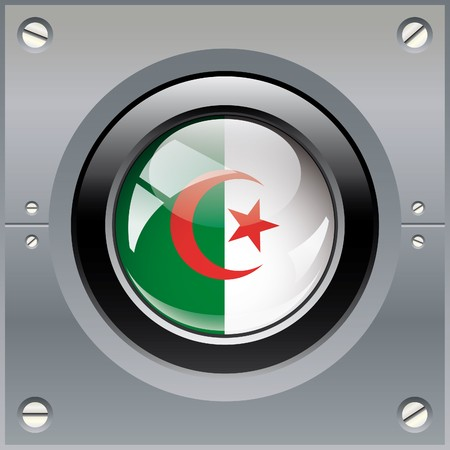 Algeria shiny button flag illustration. Isolated abstract object on metal background. illustration