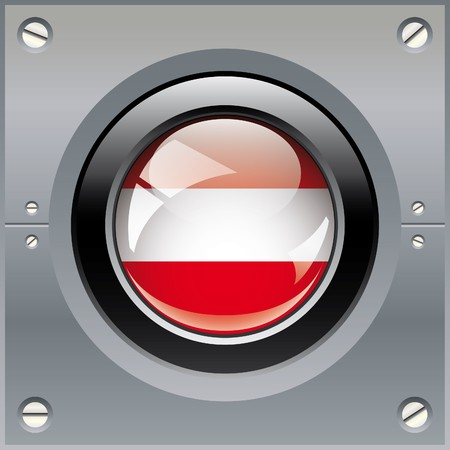 Austria shiny button flag illustration. Isolated abstract object on metal background. illustration