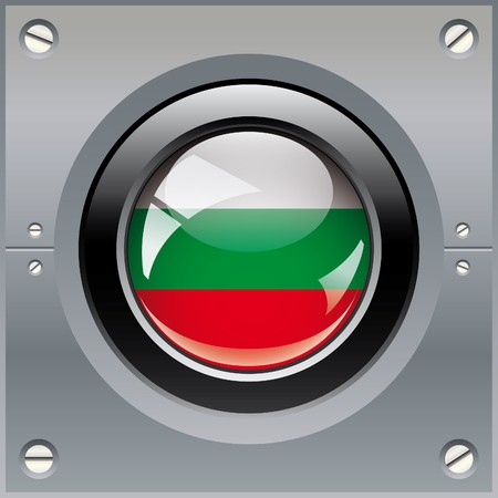 Bulgaria shiny button flag illustration. Isolated abstract object on metal background. illustration