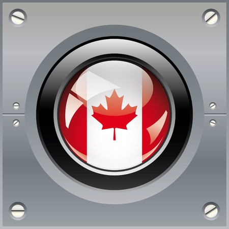 Canada shiny button flag illustration. Isolated abstract object on metal background. illustration