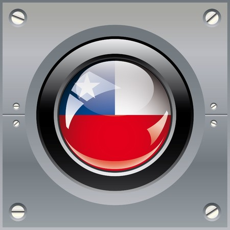 Chile shiny button flag illustration. Isolated abstract object on metal background. illustration