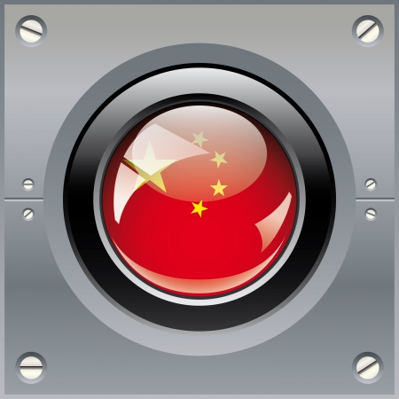 China shiny button flag illustration. Isolated abstract object on metal background. illustration
