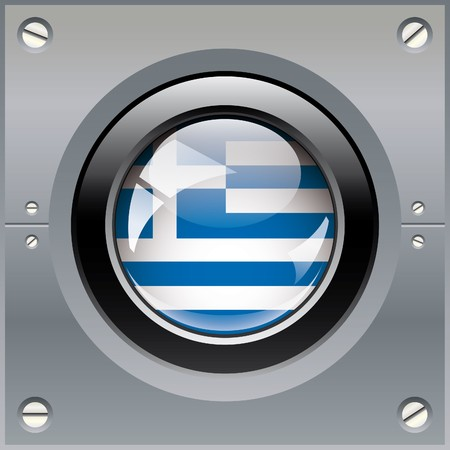 Greece shiny button flag illustration. Isolated abstract object on metal background. illustration