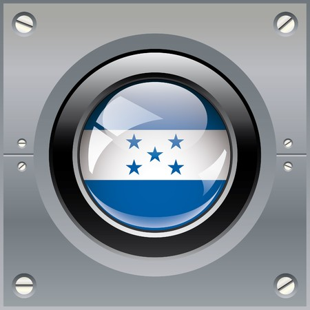 Honduras shiny button flag illustration. Isolated abstract object on metal background. illustration