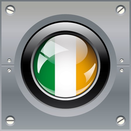 Ireland shiny button flag illustration. Isolated abstract object on metal background. Stock Illustration - 7789763