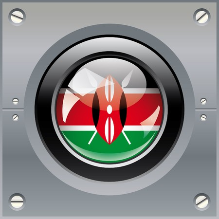 Kenya shiny button flag illustration. Isolated abstract object on metal background. illustration