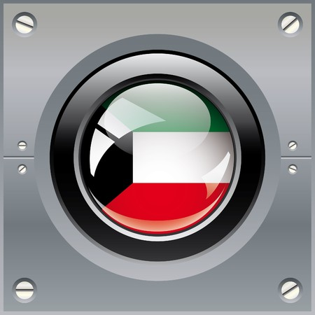 Kuwait shiny button flag illustration. Isolated abstract object on metal background. illustration