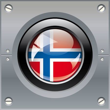 Norway shiny button flag illustration. Isolated abstract object on metal background. illustration