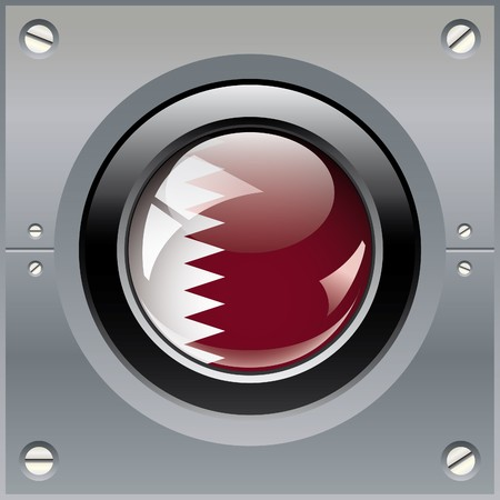 Qatar shiny button flag illustration. Isolated abstract object on metal background. illustration