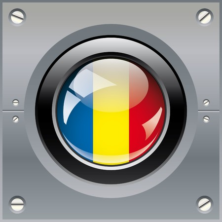 Romania shiny button flag illustration. Isolated abstract object on metal background. illustration