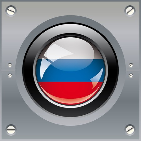Russia shiny button flag illustration. Isolated abstract object on metal background. Stock Illustration - 7789768