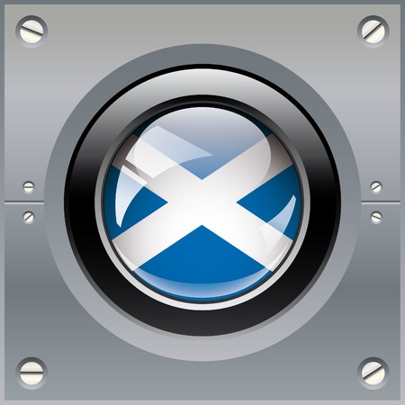 Scotland shiny button flag illustration. Isolated abstract object on metal background. illustration