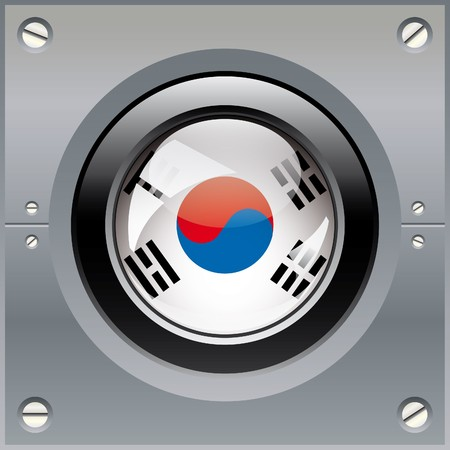 South korea shiny button flag illustration. Isolated abstract object on metal background. illustration
