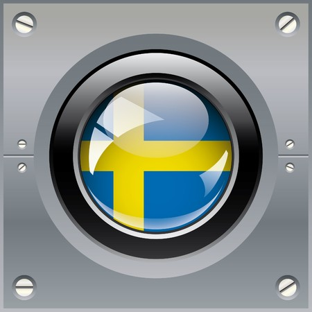 Sweden shiny button flag illustration. Isolated abstract object on metal background. illustration