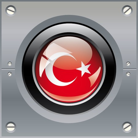 Turkey shiny button flag illustration. Isolated abstract object on metal background. illustration